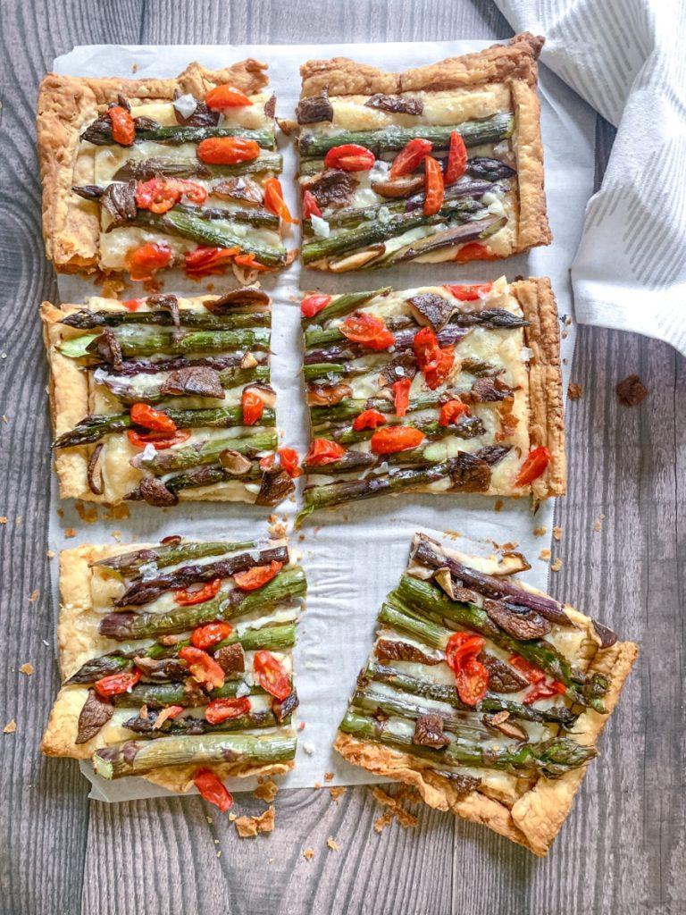 asparagus tart sliced into squares