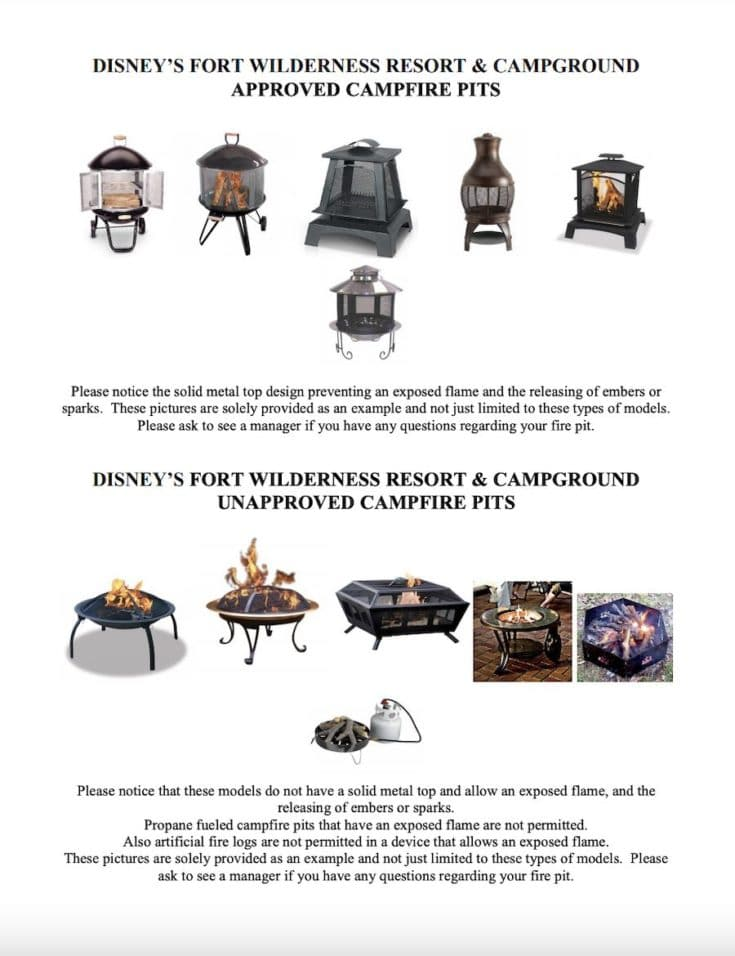Disney Fort Wilderness Approved Fire pit