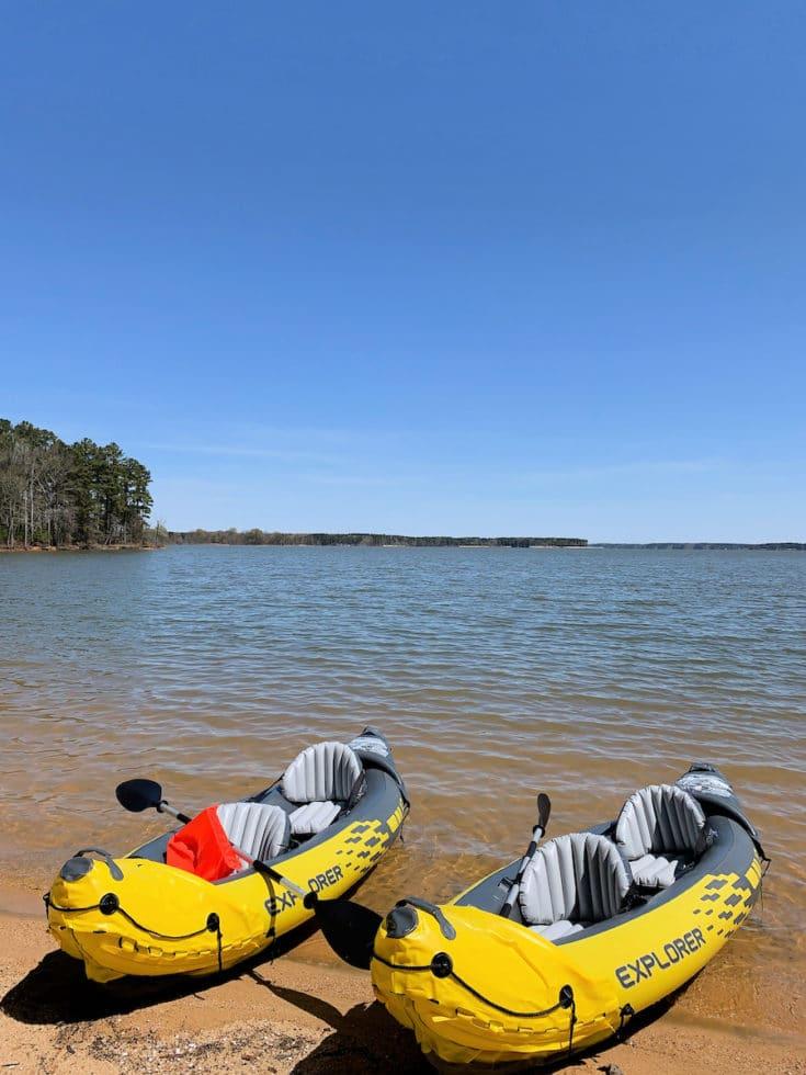 inflatable kayaks on Kerr Lake