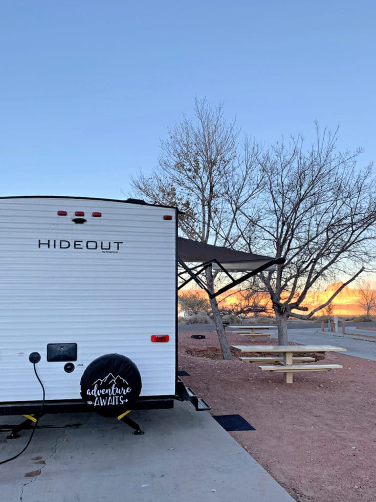 travel trailer at lake powell