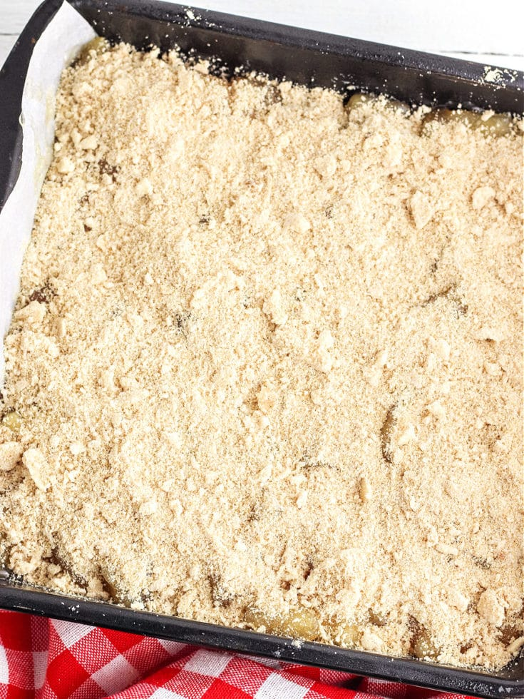apple pie bars ready to bake