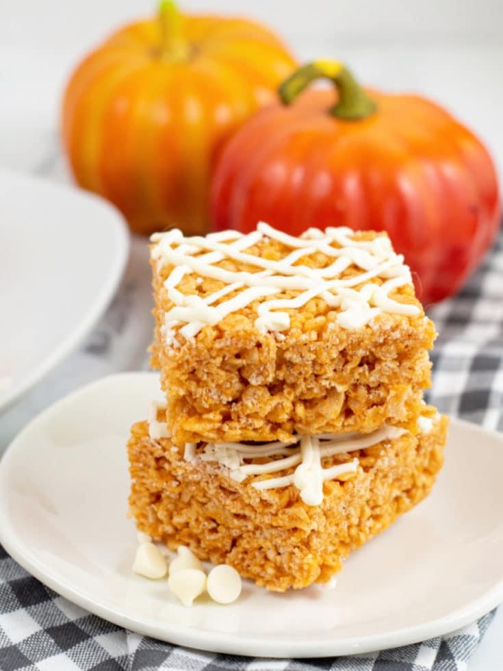 Pumpkin Spice Rice Krispie Treats on plate