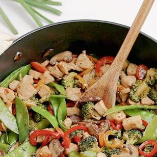 Chicken Stir Fry in Pan featured