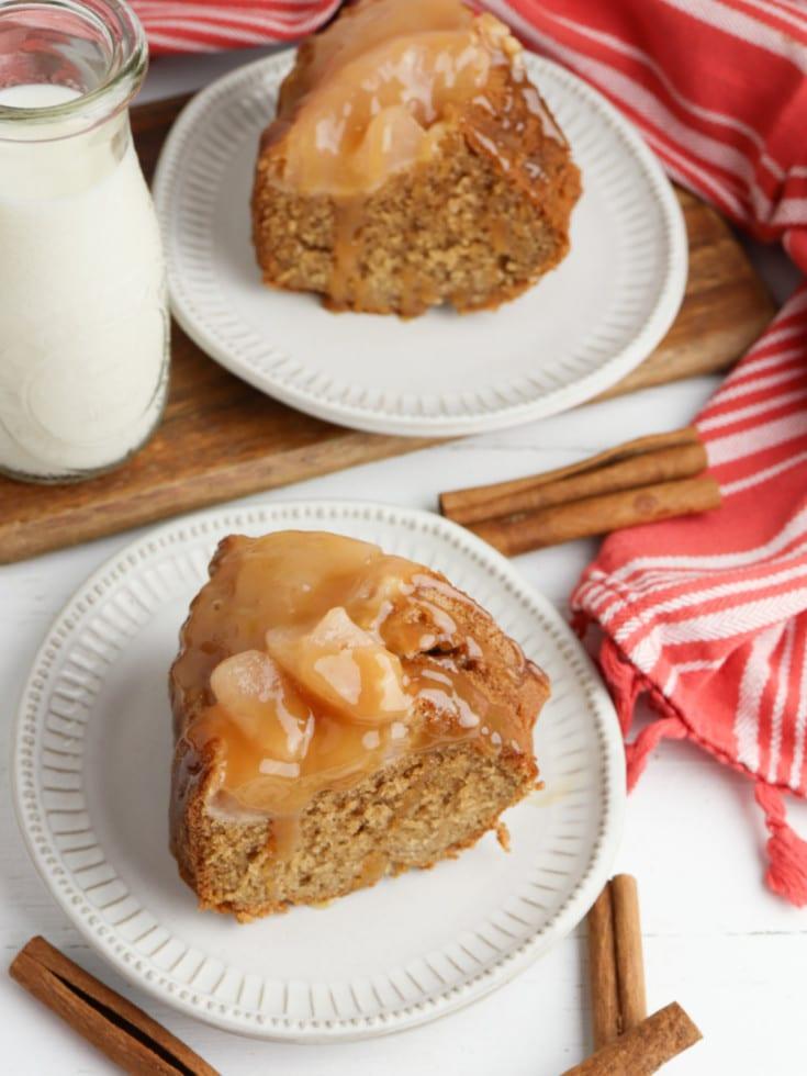 caramel apple bundt cake sliced on plates