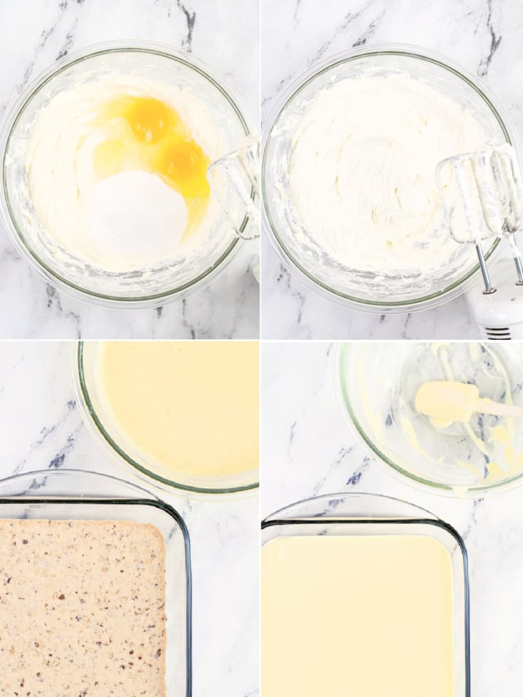 pineapple cheesecake filling steps shows ingredients for filling in bowls